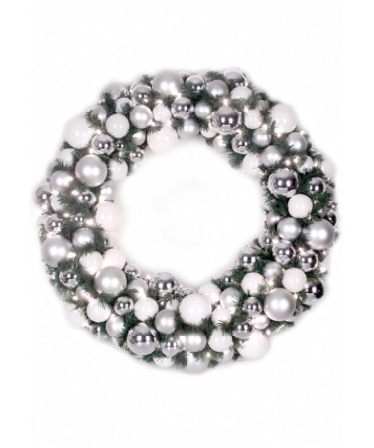 Luxury Wreath Bright Silver 75cm-0